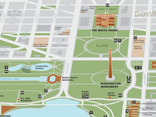 Map of Washington Monument and grounds | National parks, Map ...