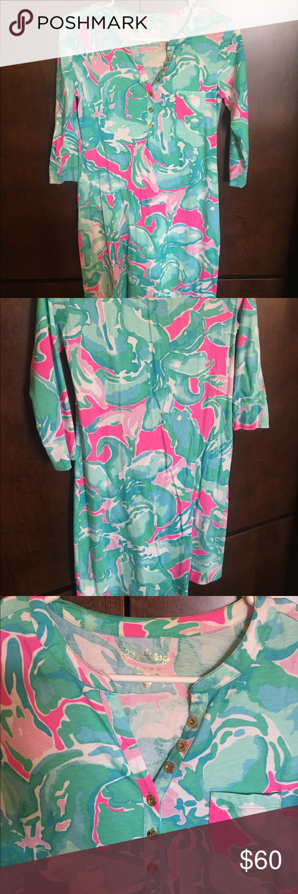 Lilly Pulitzer Palmetto Dress In Pink Sands print. Worn once.  Bright colors. Gold Button detail in front. Lilly Pulitzer Dresses