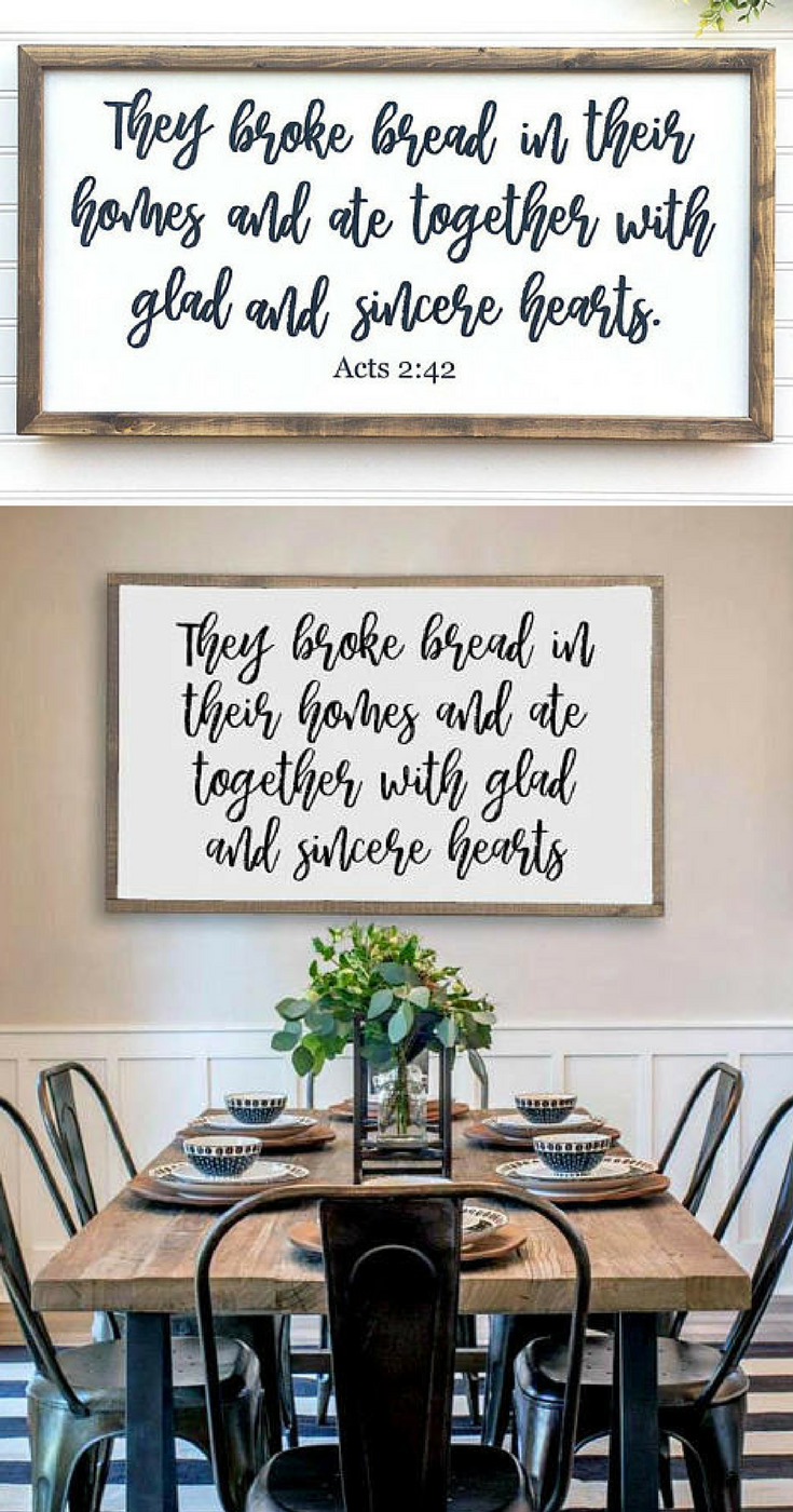 They Broke Bread In Their Homes, Acts 2:42, Hand Painted Framed Wood ...