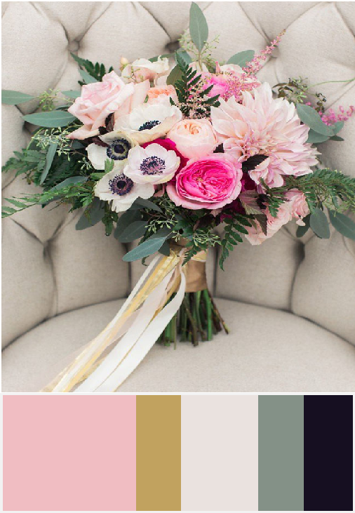 Color Pallet for Wedding Blush, Pale Pink, Gold, Cream and accented with Greens and Navy