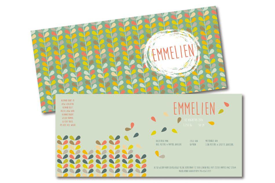 Retro geboortekaartje voor Emmelien. Bestellen kan op onze website!