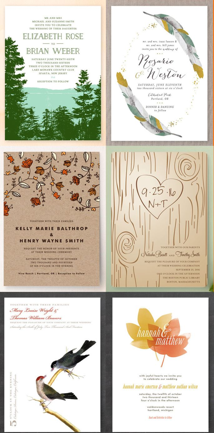 6 Nature-Inspired Wedding Invitations - for the Fall bride looking ...