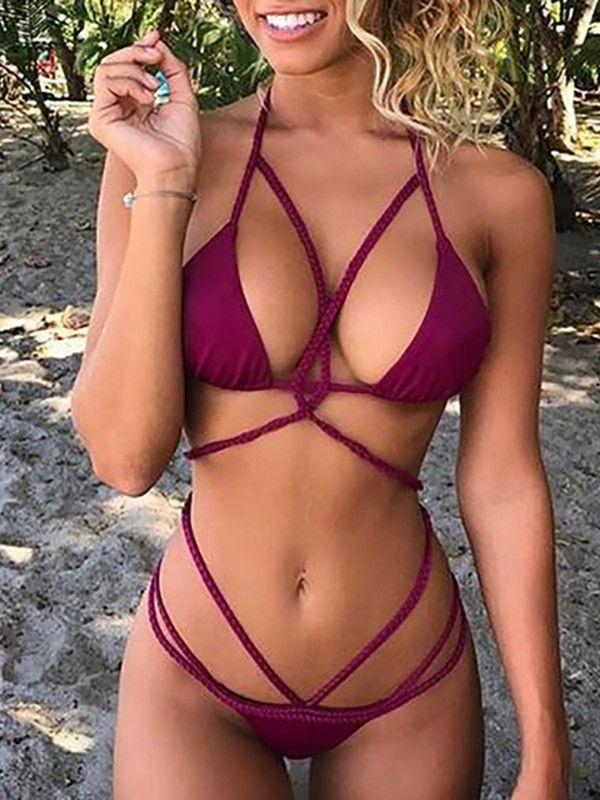 6ba227c631cba Sexy Halter Caged Bandage G-String Bikini Set