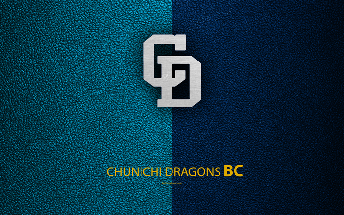 Download Wallpapers Chunichi Dragons 4k Japanese Baseball Club Logo Leather Texture Nagoya Aichi Japan Nippon Professional Washoowall Baseball 中日