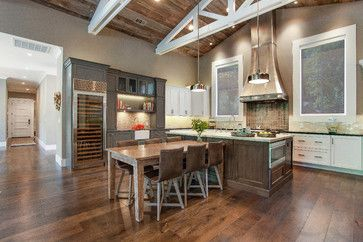 Farmhouse style with an industrial, contemporary feel