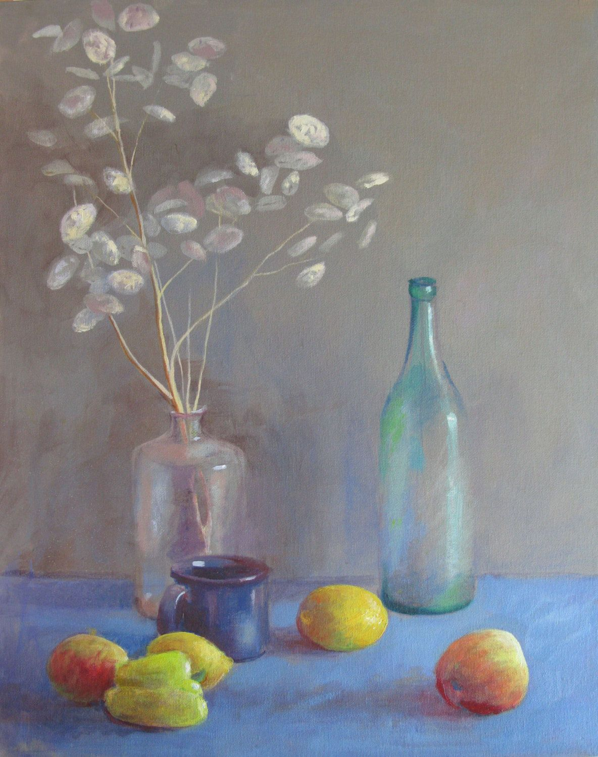 Still Life with Silver Flowers by SoniaBacchusArt on Etsy