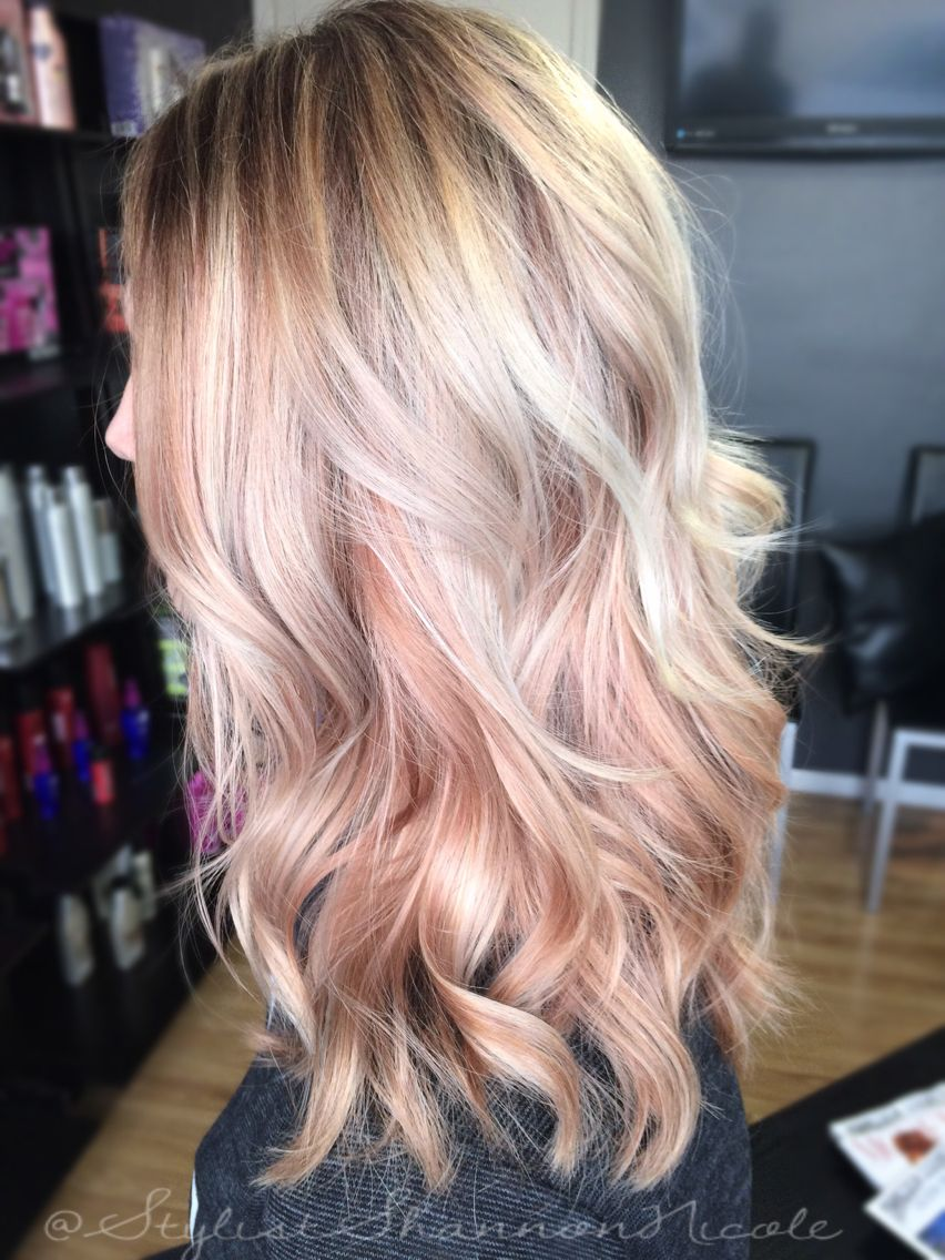 Two Tone Platinum With The Rose Gold Under Layer This Might Be My Favorite Right Now Hair Styles Pink Blonde Hair Summer Hair Color