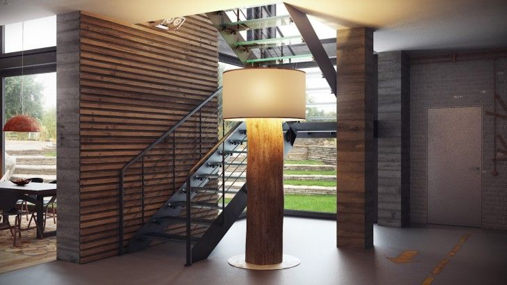 Interior Design, Large Wooden Standing Lamp Metal Staircase Grey Floor Brick  Wall Glass Door Red Brownish Pendant Lamp Wooden Floor Dining Table And  Dining ...