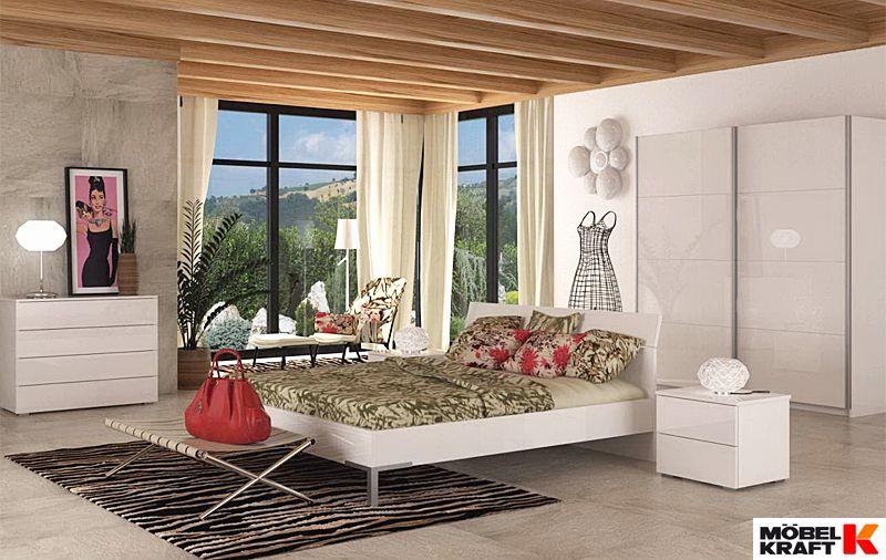 Hochglanz - Schlafzimmer in Weiß, bringt Licht in jeden Schlafraum ...