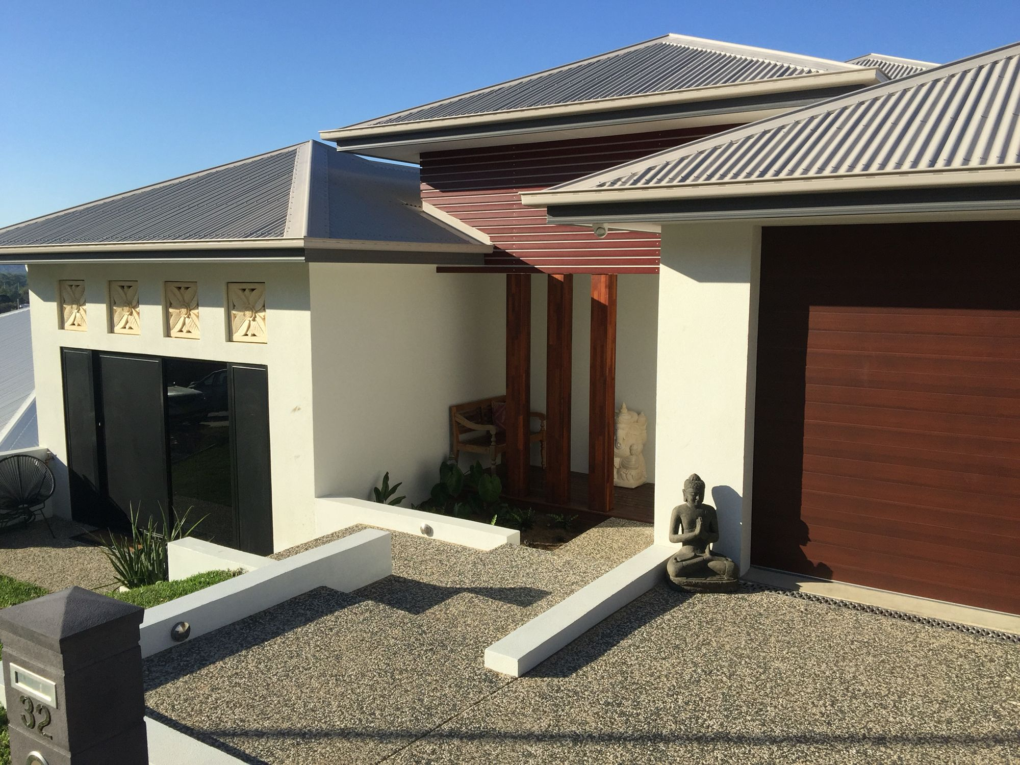 Colorbond roofing colours pictures to pin on pinterest - House Colours Colorbond Roof Gutters Dune Facias Basalt Exterior Walls Surfmist Garage
