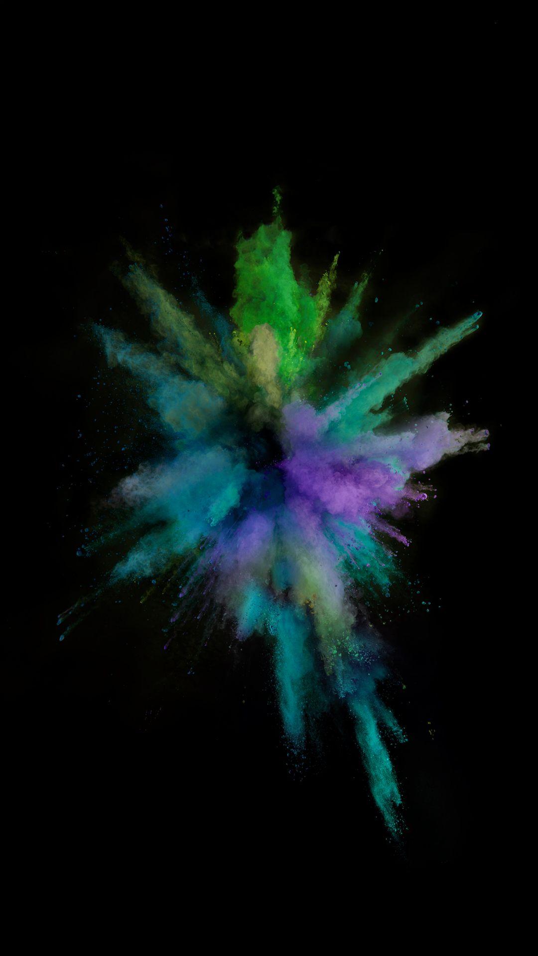 ios9 colorful smoke explosion dark art iphone 6 wallpaper