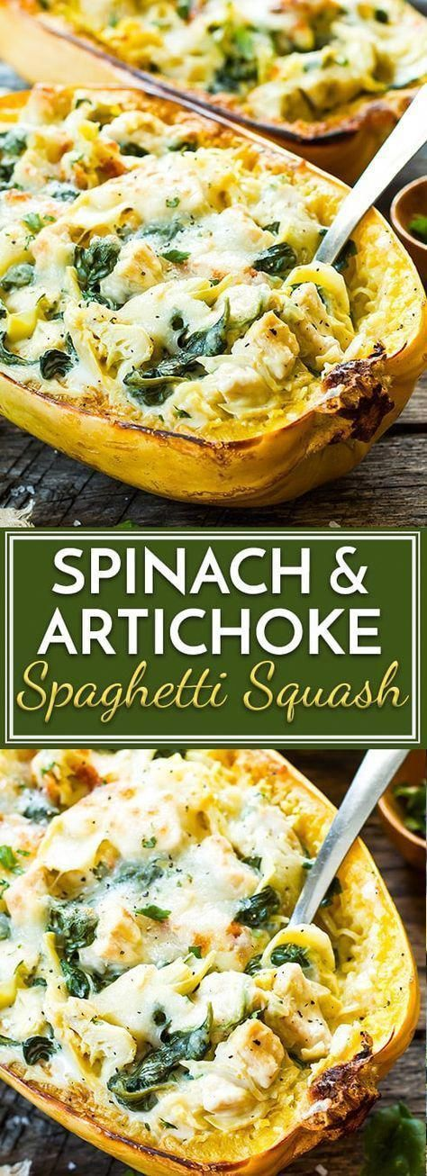 These Spinach Artichoke Spaghetti Squash Boats with Chicken are a healthy, low-carb, and gluten-free dinner recipe for those busy weeknights. #healthyveggies #spagettisquashrecipes