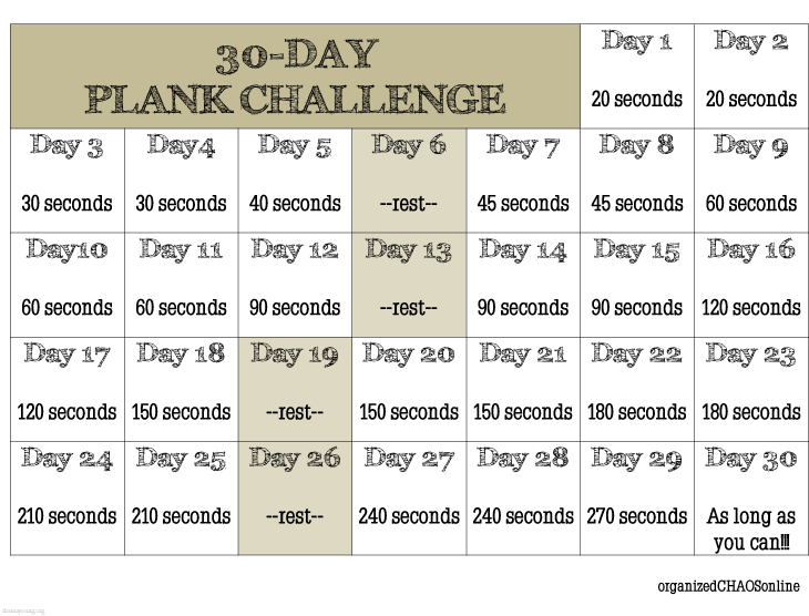 graphic relating to Plank Challenge Printable named 30-Working day Plank Situation Timetable. No cost down load. #printables