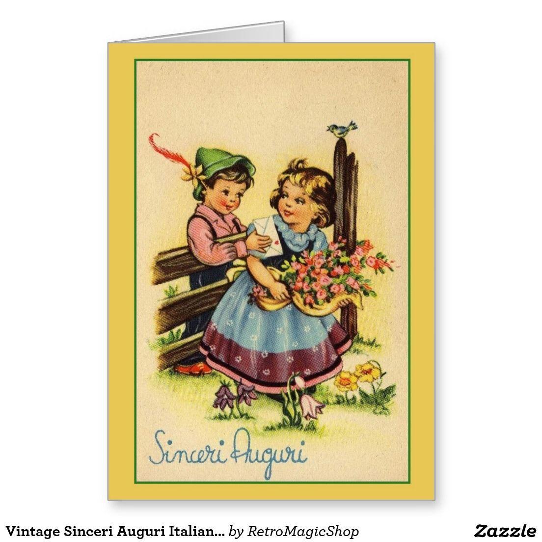 Vintage Sinceri Auguri Italian Birthday Card – Italian Birthday Card