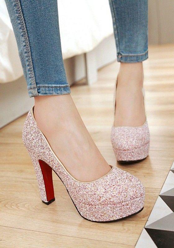 2f99c29e039a Pink Round Toe Chunky Sequin Fashion High-Heeled Shoes Shoe Sale