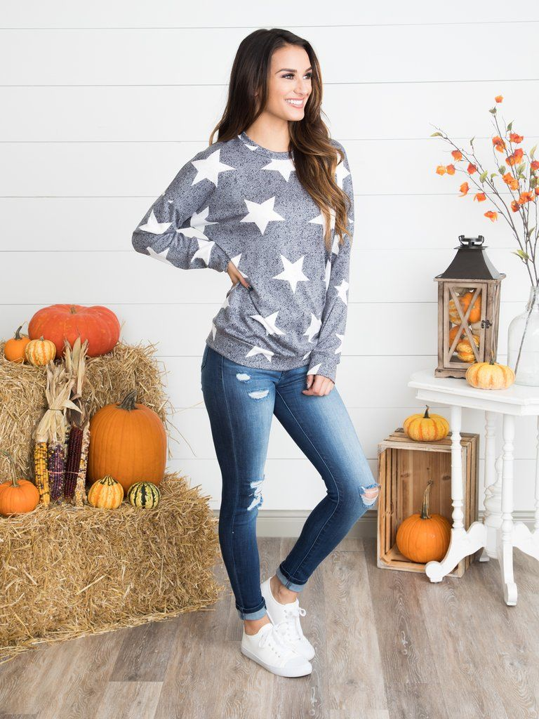 108614f09b95bb Chasing Stars Top - Lt. Grey | Patriotic | Tops, Jeans, sneakers ...
