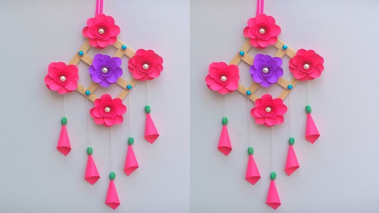 Diy Wall Hanging With Paper Flower And Icecream Stick Best Out Of