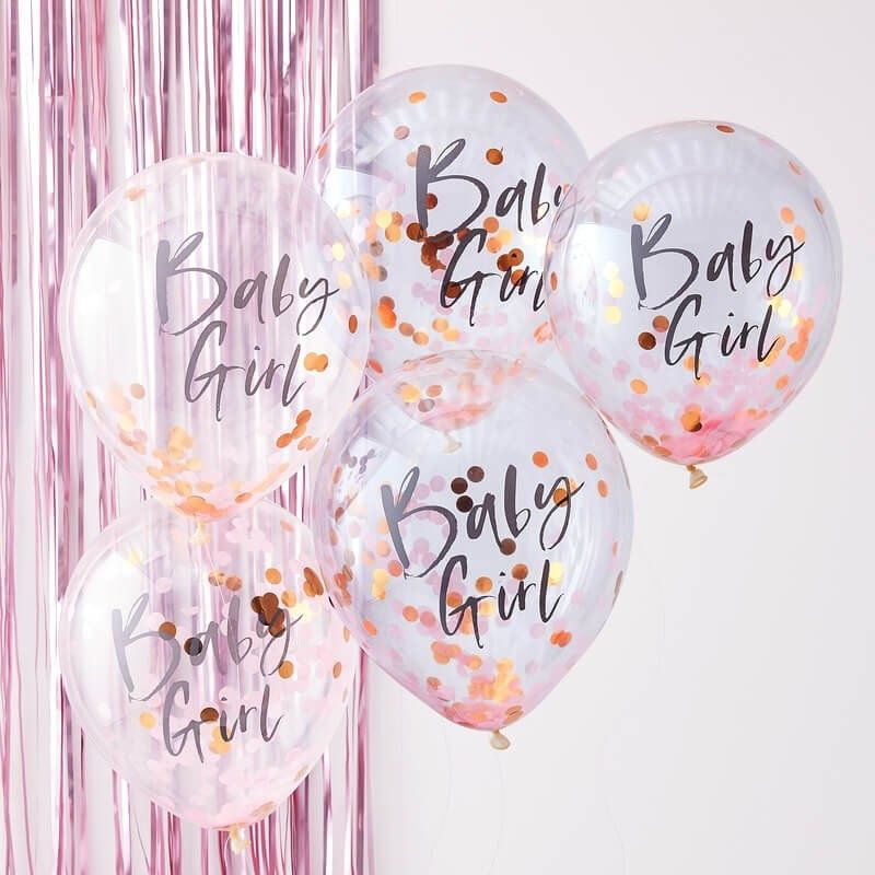 Baby Girl Baby Shower Balloons, Rose Gold and Pink Baby Girl Balloons, Mom to Be Balloons images