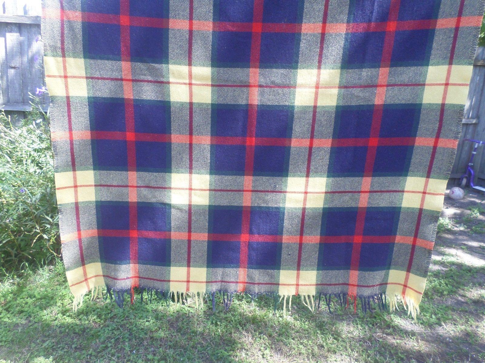 Vintage Troy Robe Wool Throw Blanket Dark Blue Cream Plaid | eBay