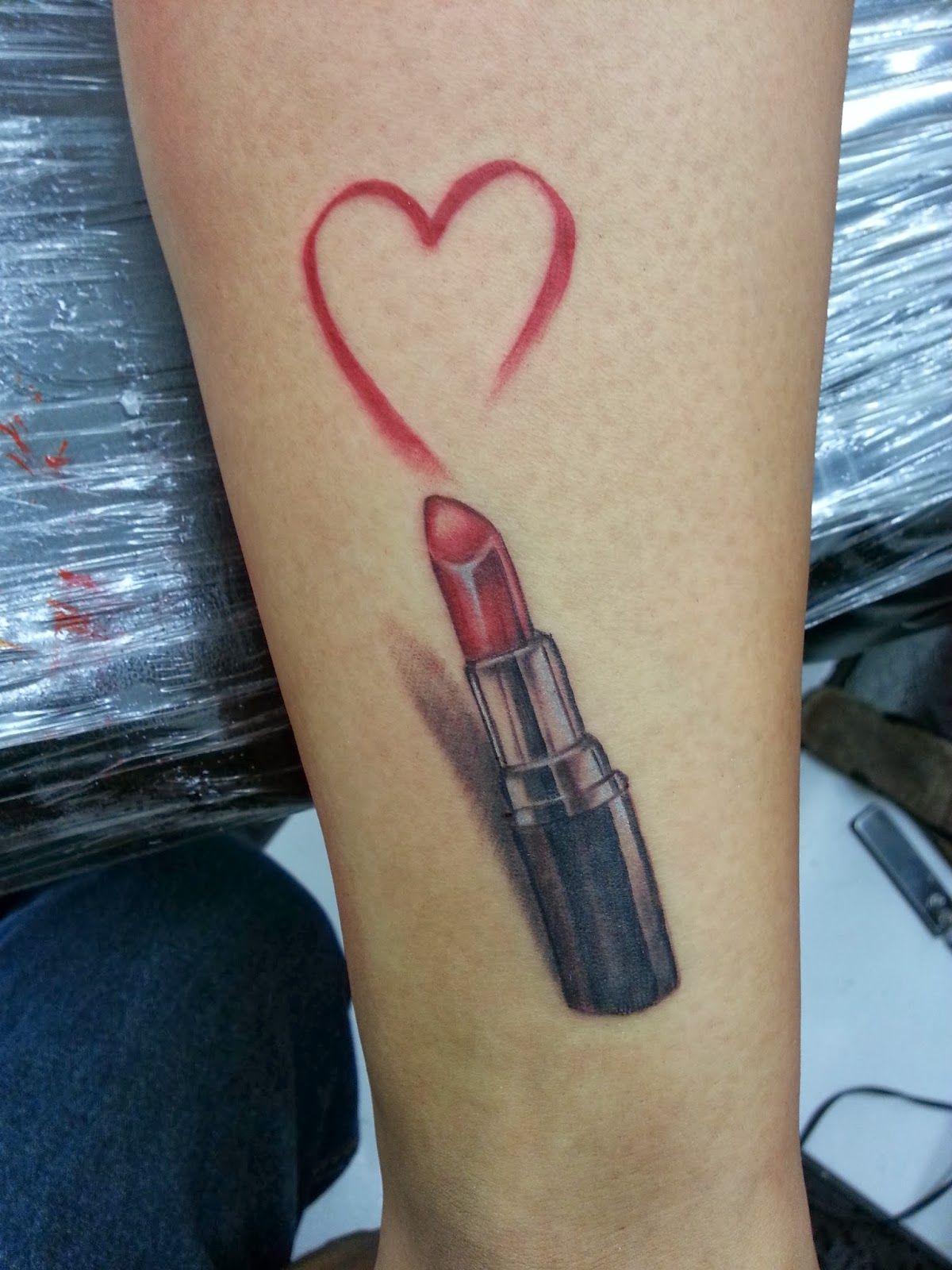 3d Red Lipstick Heart Tattoo Lipstick Tattoos Red Heart Tattoos