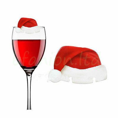 cb68a3ccc126c 10 CHRISTMAS SANTA HAT WINE GLASS DECORATION RED   WHITE PLACE CARDS UK  SELLER