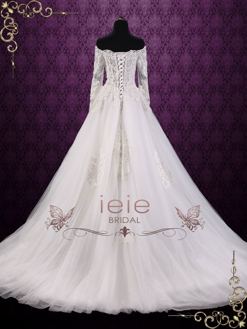 Off shoulder lace ball gown wedding dress cullen products