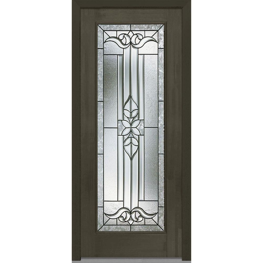 39b6e7217f65ea Milliken Millwork 33.5 in. x 81.75 in. Cadence Decorative Glass Full Lite  Finished Fiberglass Mahogany Exterior Door