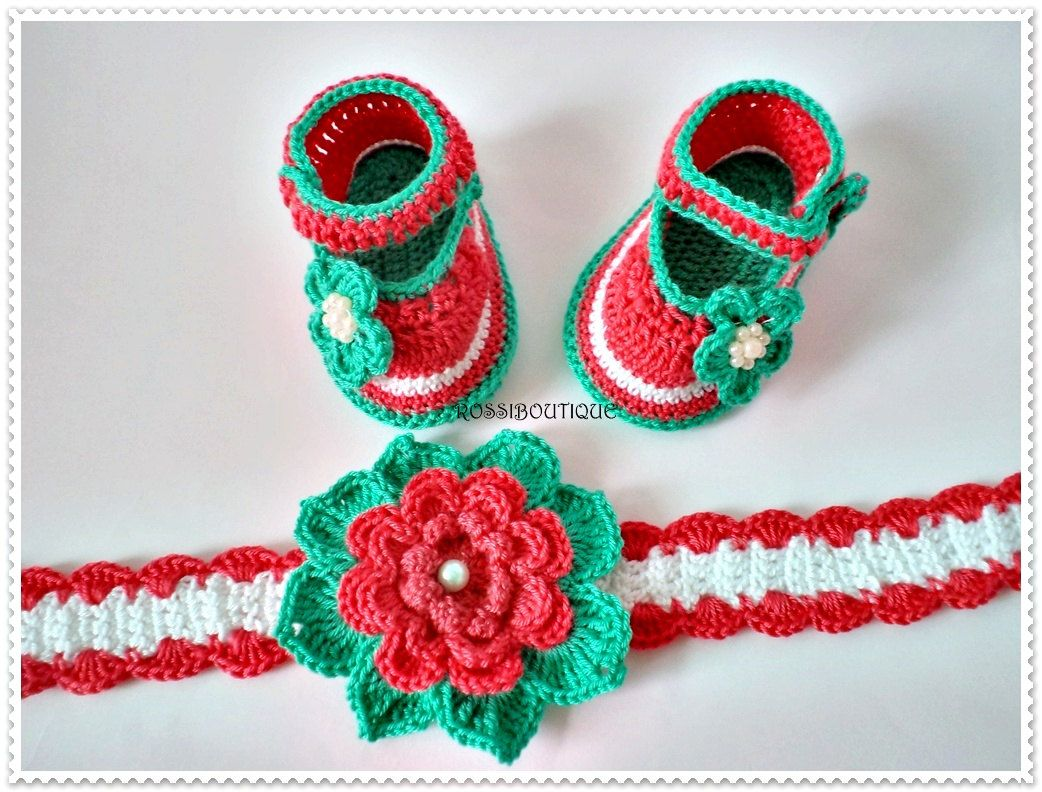 a1063d60d24b4 Baby set, Crochet baby shoes, Baby headband,Peach Turquoise Baby ...