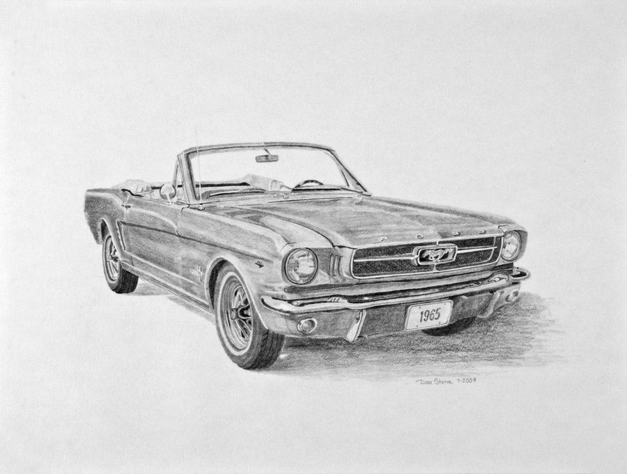 1965 Ford Mustang Sketch  Illustrations Cars  Ford