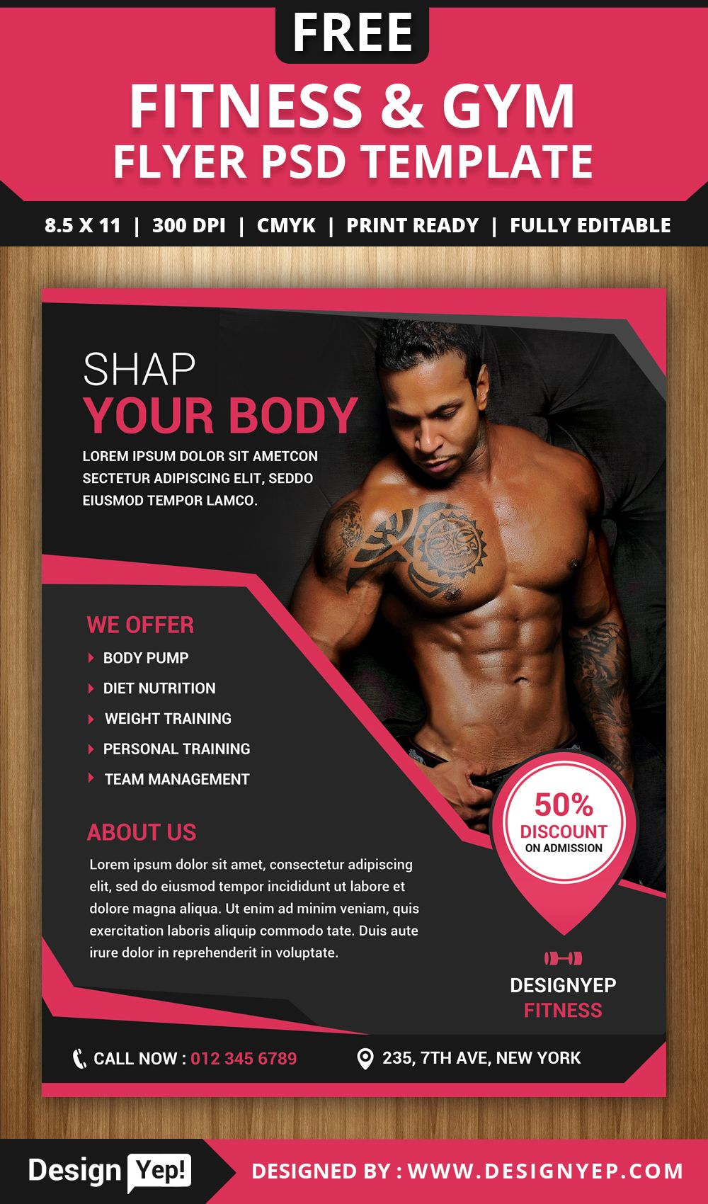 Amazing Free Fitness And Gym Flyer PSD Template 1994  Ideas