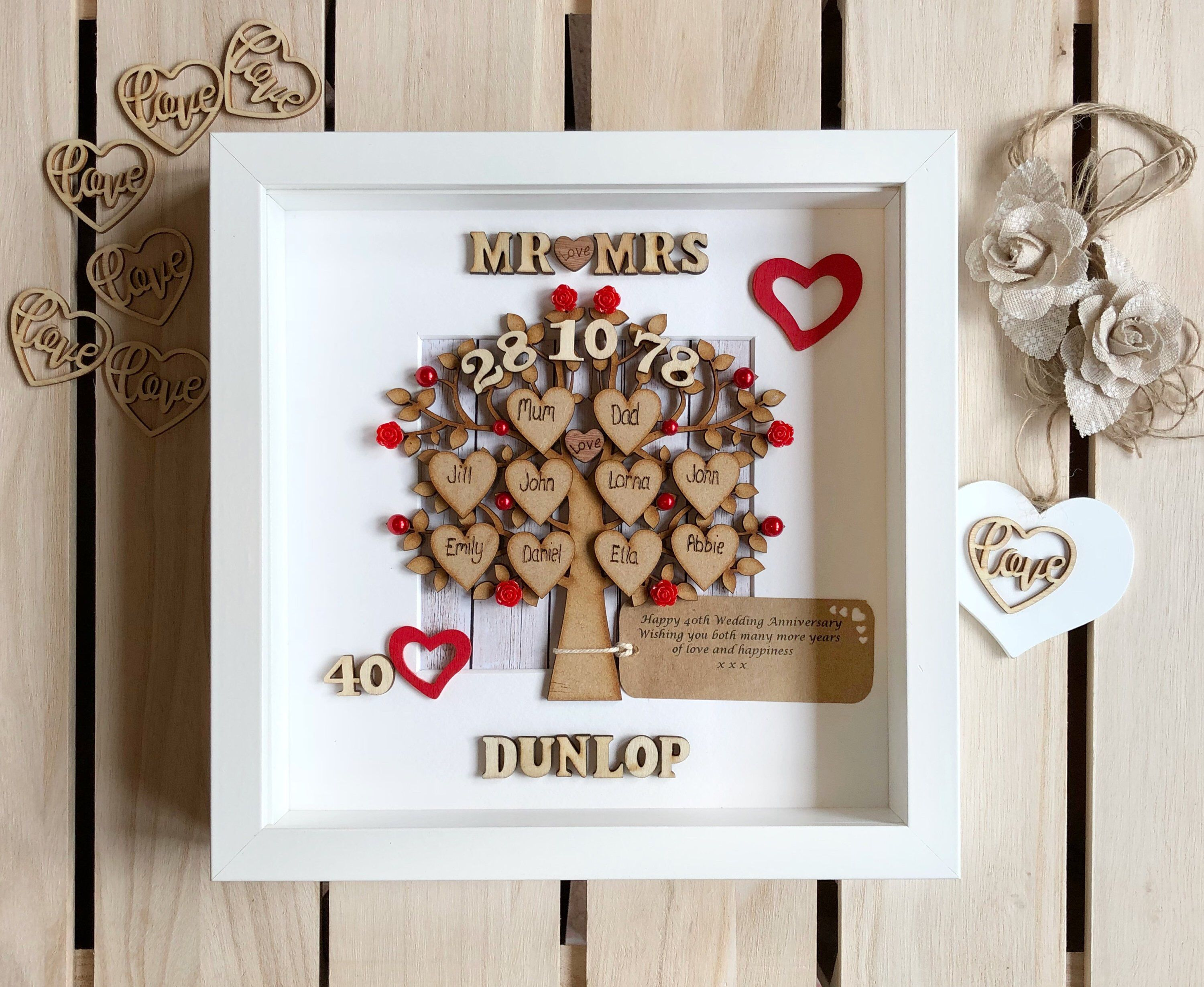Ruby Anniversary Gift And Family Tree Ruby Wedding 40th Wedding Anniversary 40th Anniversary Gifts Anniversary Gifts For Parents Ruby Anniversary Gifts