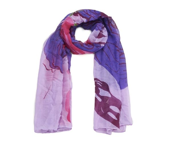 Rose Scarf in stunning pink and mauve hues with abstract floral design.