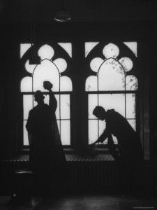 The photograph is one of a dozen pictures taken at St Benedict's Abbey, Atchison, Kansas, by Gordon Parks in 1955 for LIFE magazine for a special double edition of the magazine on Christianity (A Cloistered Life of Devotion, 26 Dec 1955, Vol.39, No.26 – Vol.40, No.1, pp119-123).