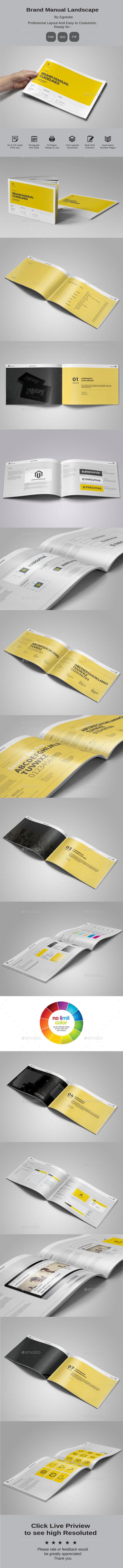 Brand Manual Landscape Template InDesign INDD. Download here: http ...
