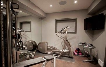 bilick basement development contemporary home gym  small