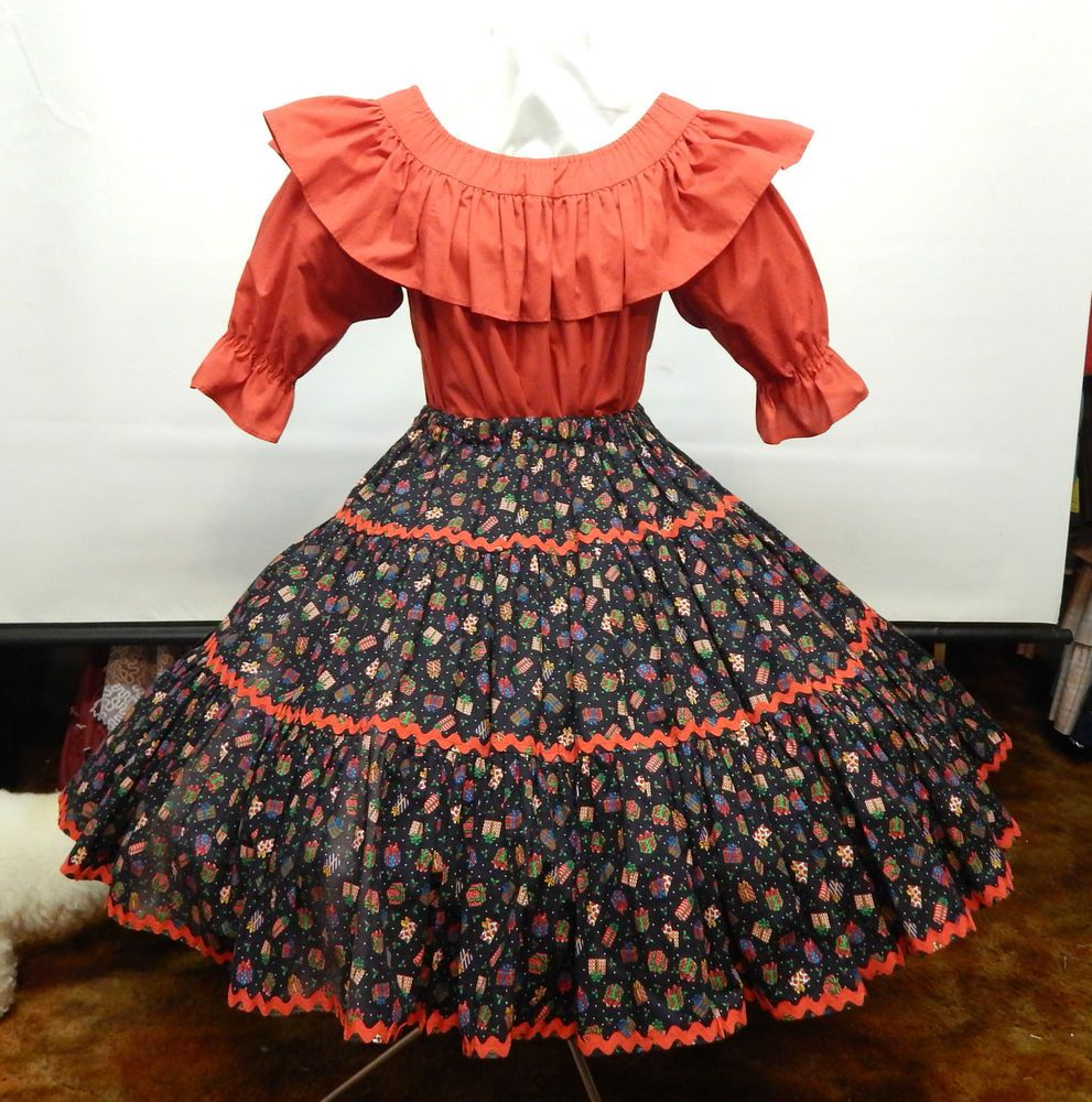 2 PIECE RED AND CHRISTMAS PRINT SQUARE DANCE DRESS in 2019 ...