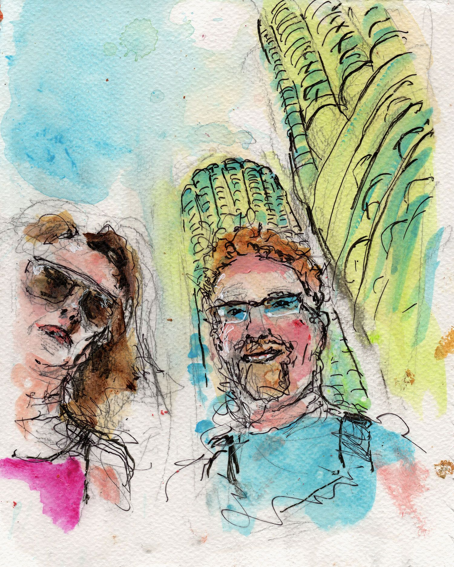 """9/27/15 - Amy and Johnny . Mixed media on watercolor paper. 8"""" x 10"""". $50."""