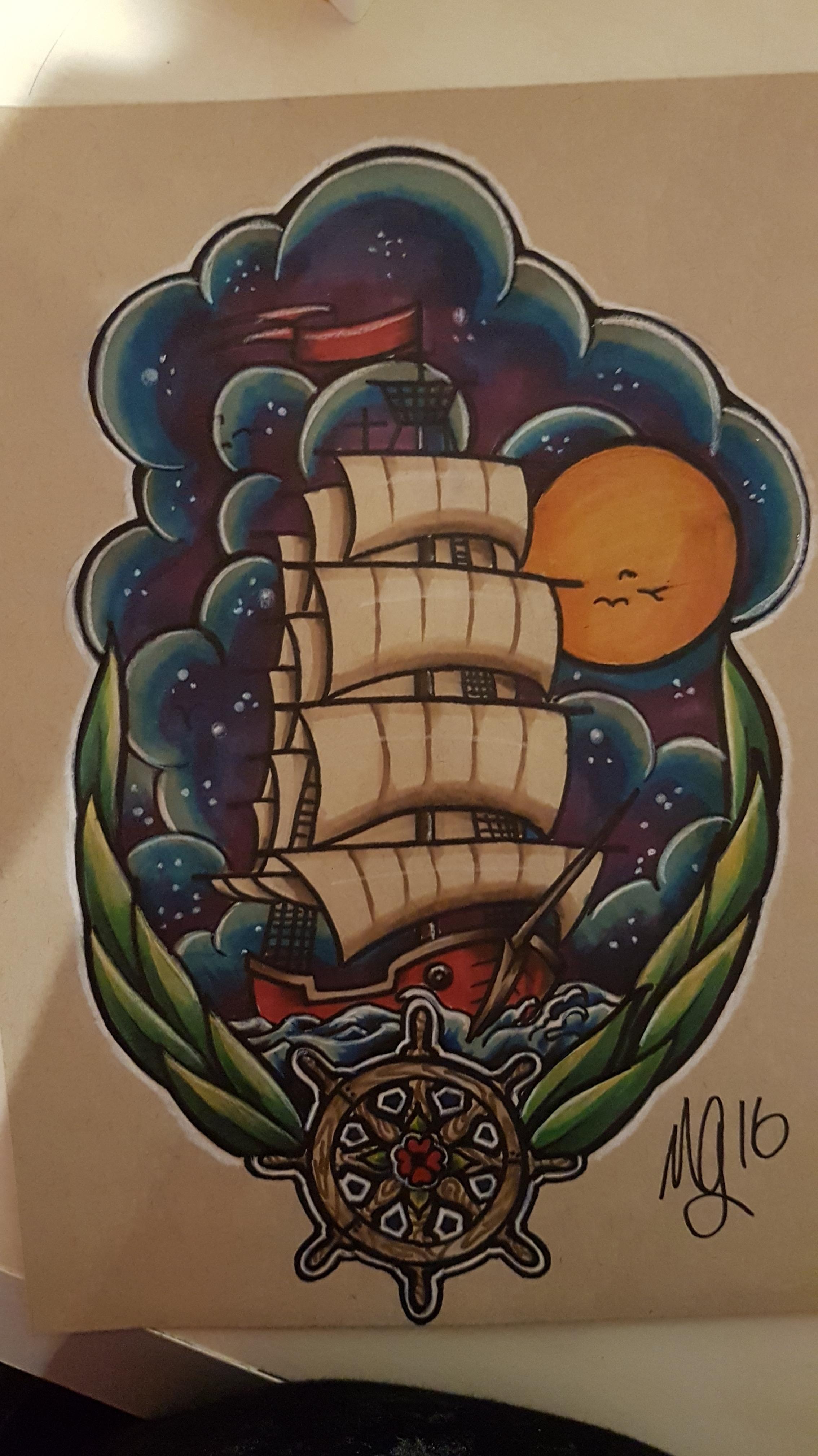 Neo Traditional Ship Tattoo : traditional, tattoo, Traditional, Tattoo, W/Night, Tattoo,, Night, Tattoos