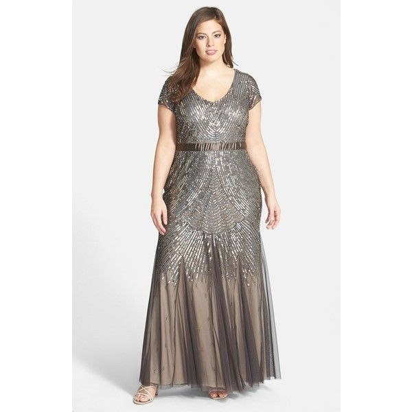 Plus Size Women\'s Adrianna Papell Beaded Cap Sleeve Gown ($345 ...