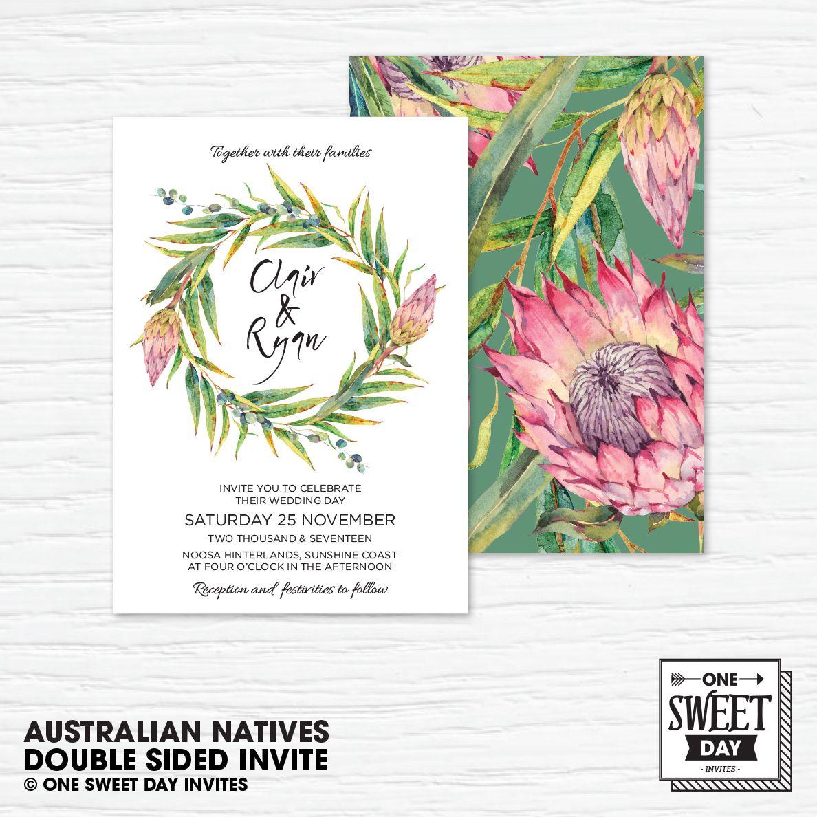 Wedding Invitation Printable, Australian, Native Flowers, Eucalypt ...