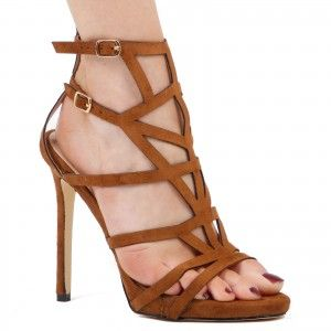 Kyra Caged Heels In Tan Faux Suede