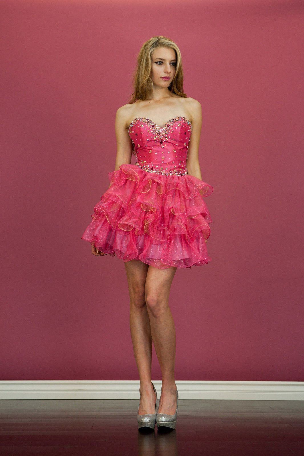 Fancy short fuchsia strapless prom dress formal beaded