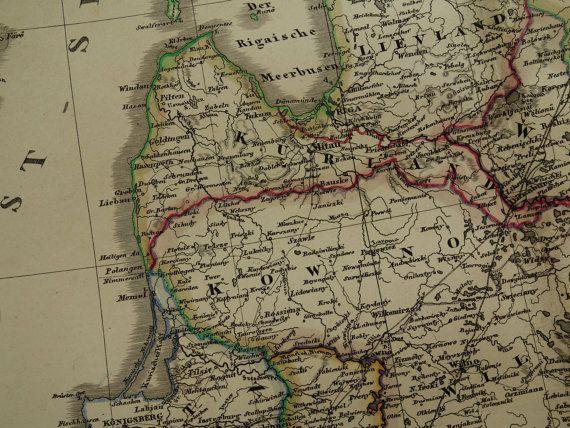 Large 1858 map of the Estonia Latvia Lithuania original hand
