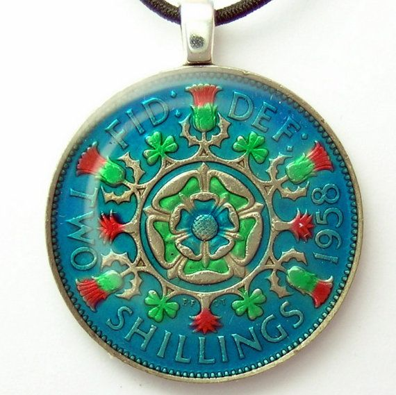 Great Britain  English Rose Pendant hand painted by Ann Nolen.  See AnimalCoin on Etsy