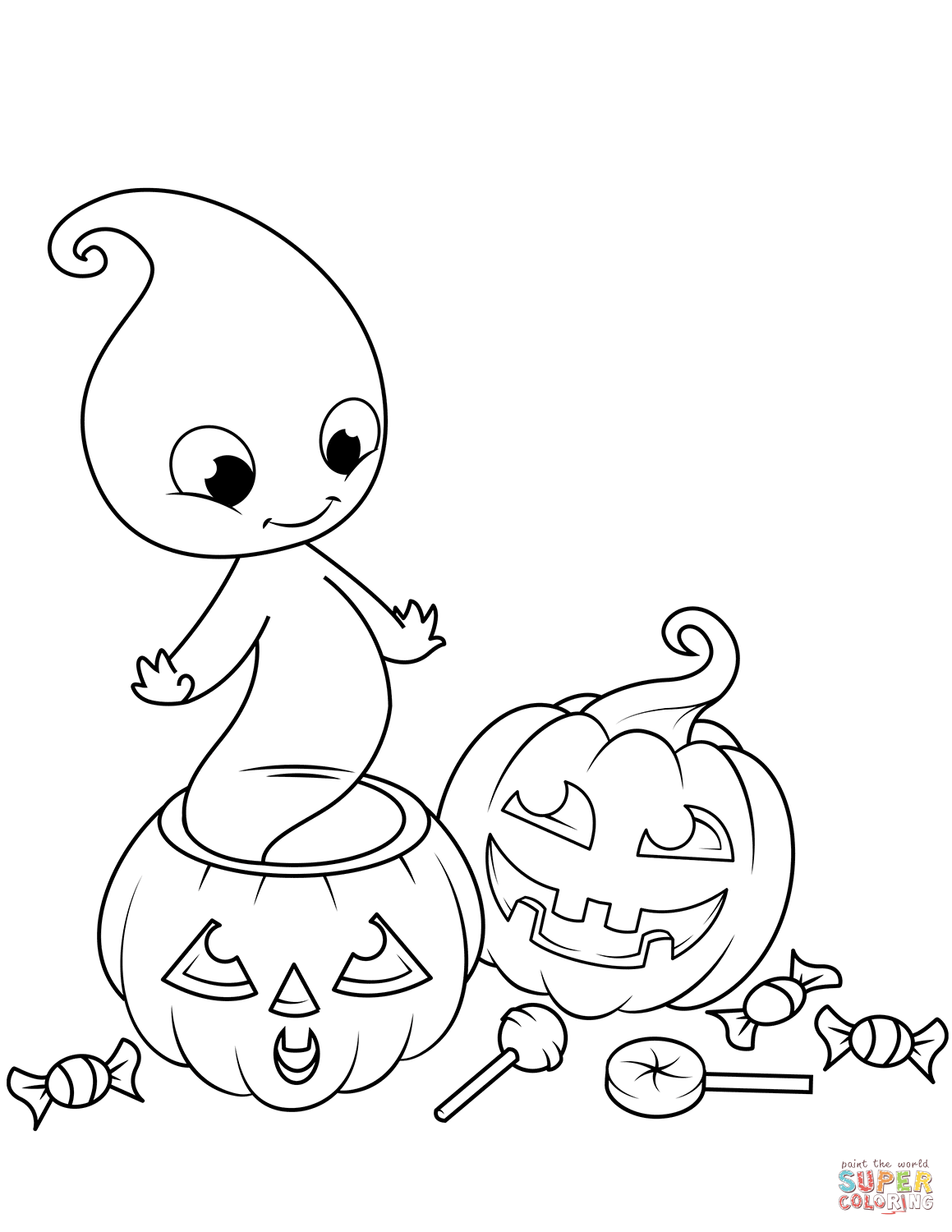 Cute Ghost from Jack O'Lantern | Super Coloring #halloweencoloringpages