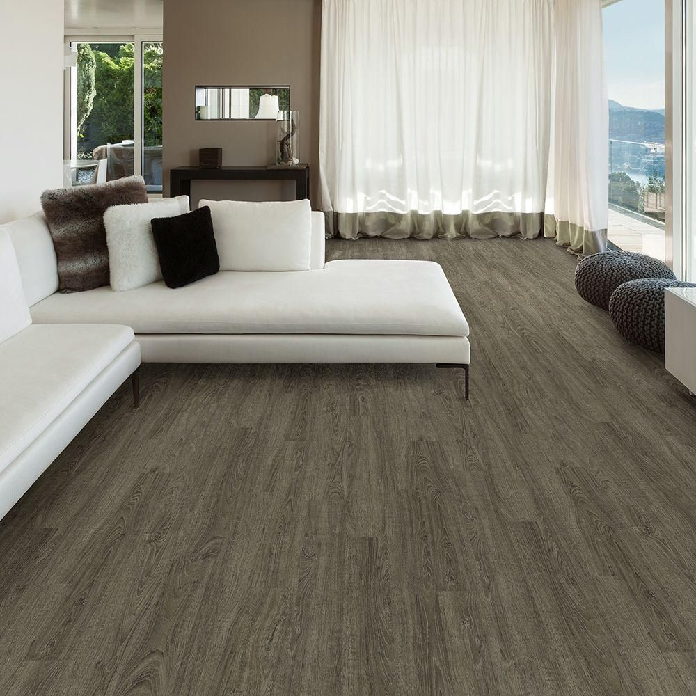 TrafficMASTER Allure 6 In. X 36 In. Metal Gray Oak Luxury Vinyl Plank  Flooring