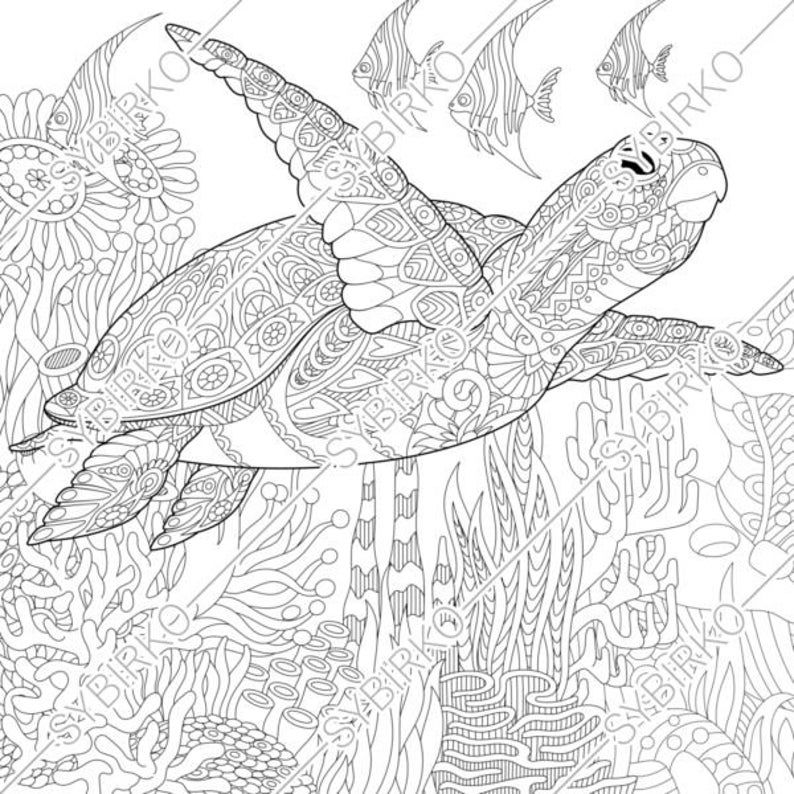 Coloring Pages For Adults Digital Coloring Pages Sea Ocean Etsy In 2020 Turtle Coloring Pages Animal Coloring Pages Ocean Coloring Pages