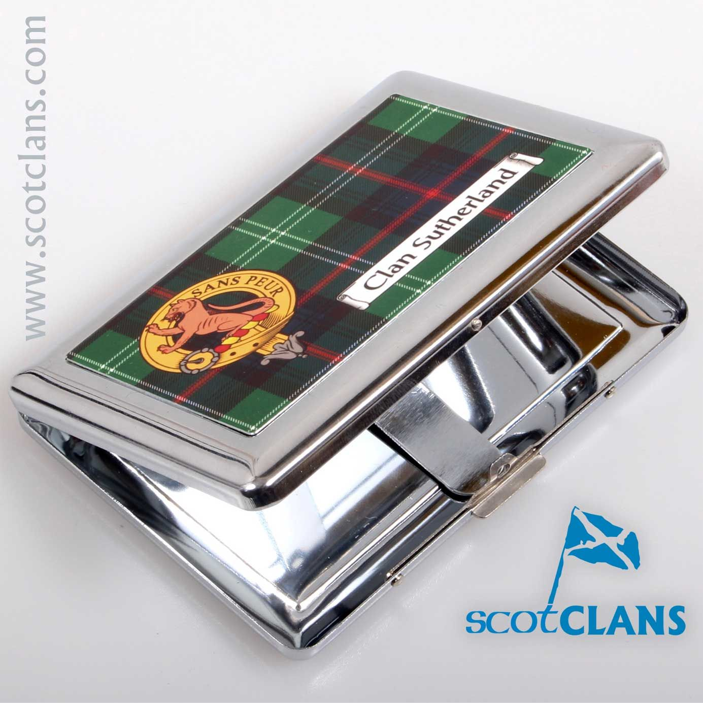 849134228025f1 Sutherland Clan Crest and Tartan Cigarette Case. Free worldwide shipping  available