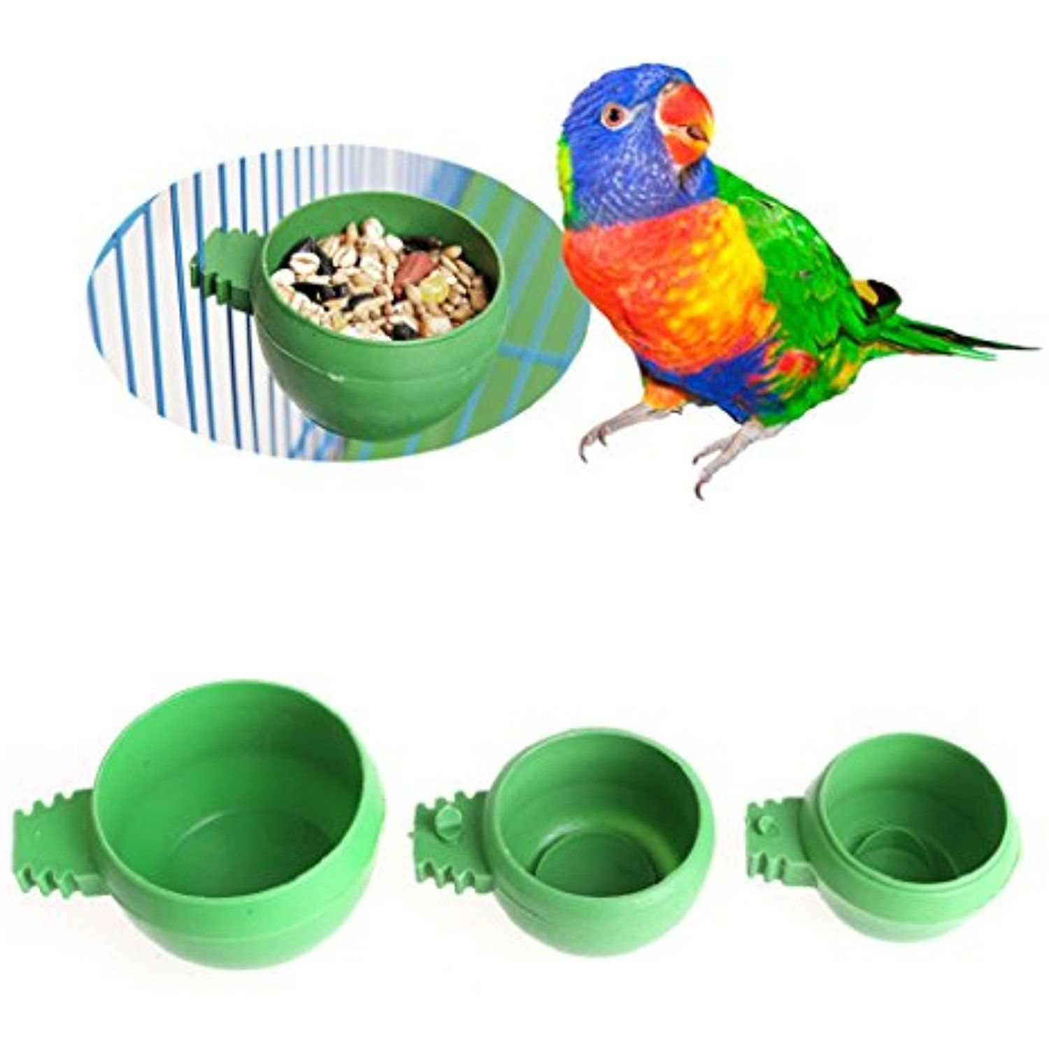 5x Bird Parrot Feeding Cups Cage Hanging Bowl Seed Water Food Dish Container