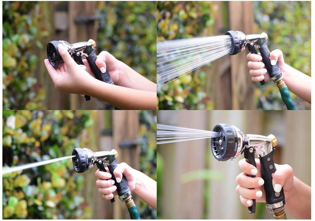 Garden hose nozzle hand sprayer heavy duty metal